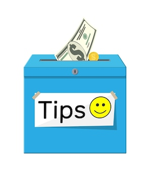 Caixa de gorjetas azul cheia de dinheiro. obrigado pelo serviço. dinheiro para manutenção. bom feedback ou doação. conceito de gratuidade. ilustração vetorial em estilo simples