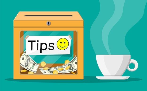 Caixa de gorjetas laranja cheia de dinheiro e uma xícara de café. obrigado pelo serviço. dinheiro para manutenção. bom feedback ou doação. conceito de gratuidade. ilustração vetorial em estilo simples