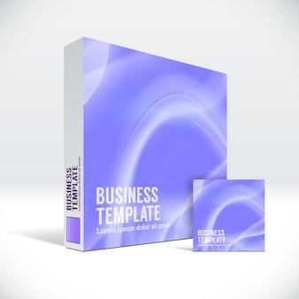 Caixa de identidade 3d com capa de linhas violetas abstratas