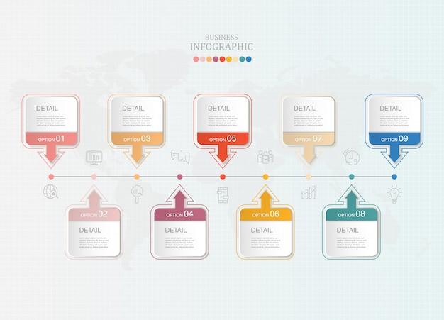 Caixa de infográficos e ícones para os negócios atuais.
