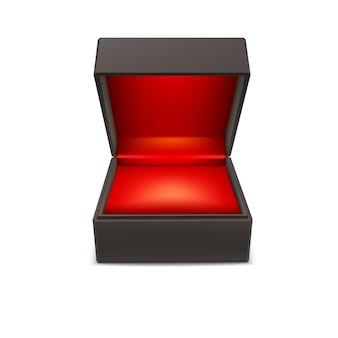 Caixa de joias para presente do produto. caixa aberta isolada em um fundo branco, ilustração vetorial.