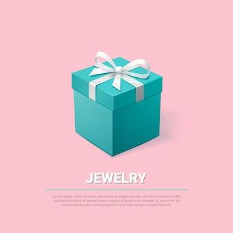 Caixa de joias turquesa em fundo rosa