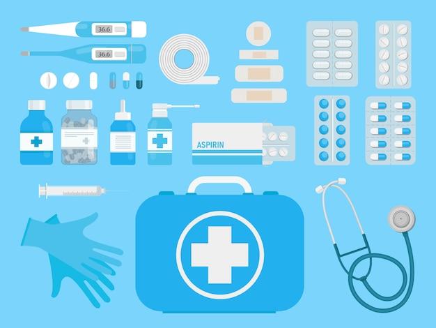 Caixa de kit de primeiros socorros com equipamento médico e medicamentos em uma vista superior do plano de fundo azul. estilo simples. ilustração das ações de design. hospital e diagnóstico do paciente. elementos para infográficos.