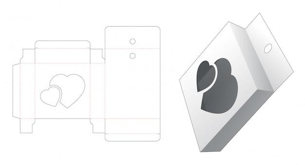 Caixa de lata de suspensão com 2 janelas cortadas em forma de coração