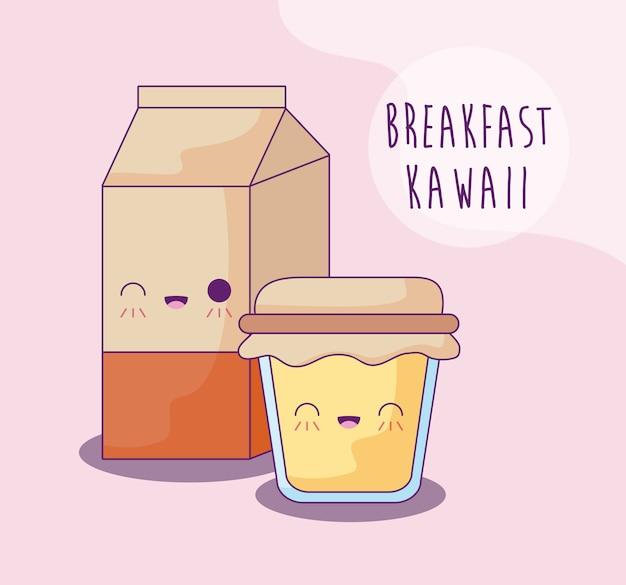Caixa de leite com pote de mel café da manhã estilo kawaii