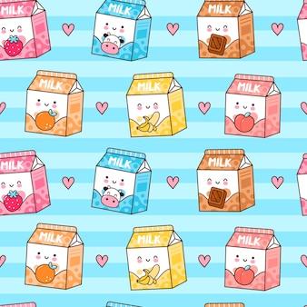 Caixa de leite com sabor feliz fofa engraçada e padrão sem emenda de corações