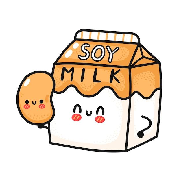 Caixa de leite de soja fofa e engraçada com feijão