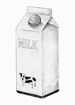 Caixa de leite desenhada à mão