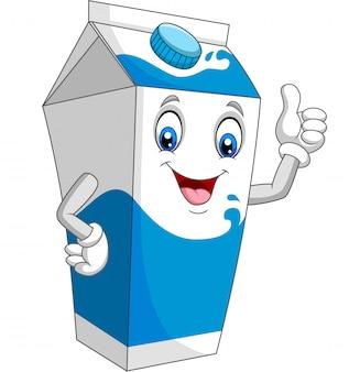 Caixa de leite dos desenhos animados, dando o polegar para cima