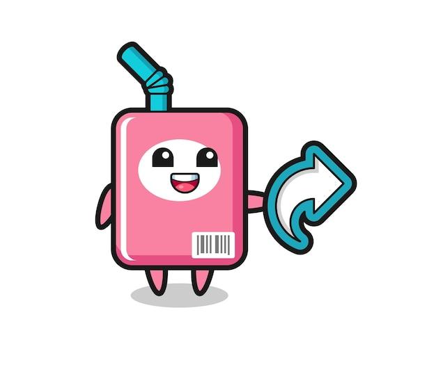 Caixa de leite fofa com símbolo de compartilhamento de mídia social, design de estilo fofo para camiseta, adesivo, elemento de logotipo