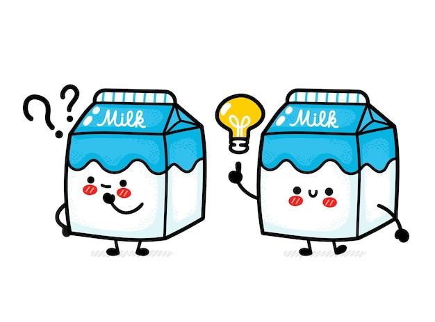 Caixa de leite fofa e engraçada com ponto de interrogação e lâmpada de ideia