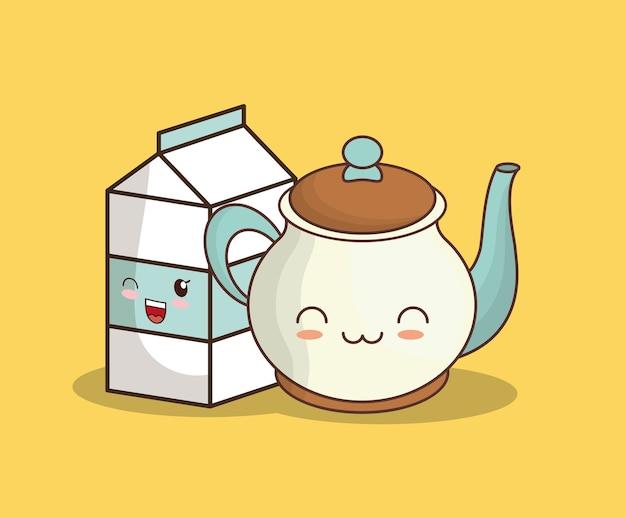 Caixa de leite kawaii e bule de chá