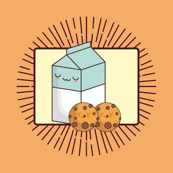 Caixa de leite kawaii e cookies