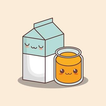 Caixa de leite kawaii e copo de suco