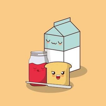 Caixa de leite kawaii e fatia de pão