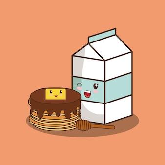 Caixa de leite kawaii e panquecas