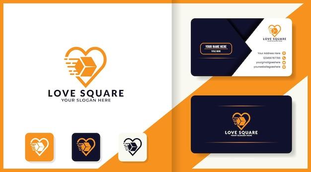 Caixa de logística em design de logotipo de amor e cartão de visita
