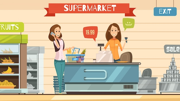 Caixa de loja de supermercado e cliente com cesta de supermercado