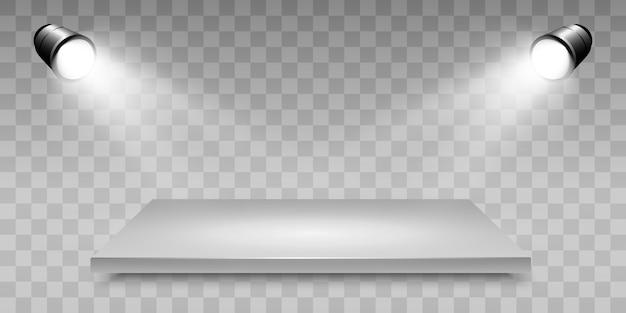 Caixa de luz 3d realista com fundo de plataforma para desempenho de design, show, exposição. lightbox studio interior. pódio com luzes embutidas.