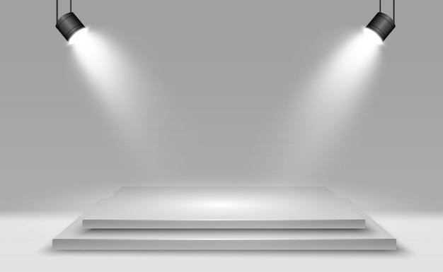 Caixa de luz 3d realista com fundo de plataforma para desempenho, show, exposição. ilustração do lightbox studio interior. pódio com holofotes.