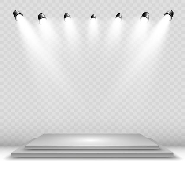Caixa de luz 3d realista com plataforma. estúdio interior podium com holofotes
