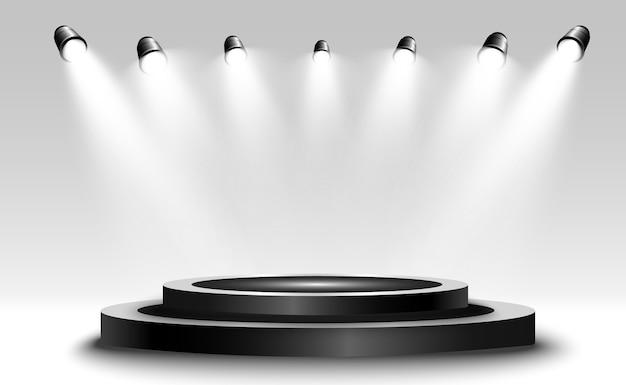 Caixa de luz 3d realista com plataforma para desempenho de design, show, exposição. pódio com luzes embutidas.