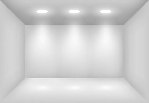 Caixa de luz branca realista com holofotes ou projetor. iluminação da sala de exposições. lightbox fundo para show, exposição. modelo em branco e vazio interior do estúdio.