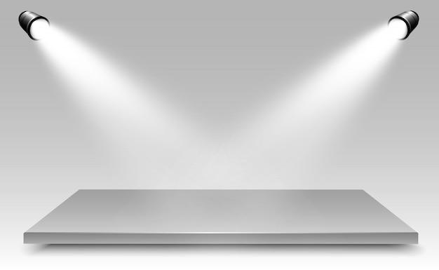 Caixa de luz realista com fundo de plataforma para desempenho, show, exposição. ilustração do lightbox studio interior. pódio com holofotes.