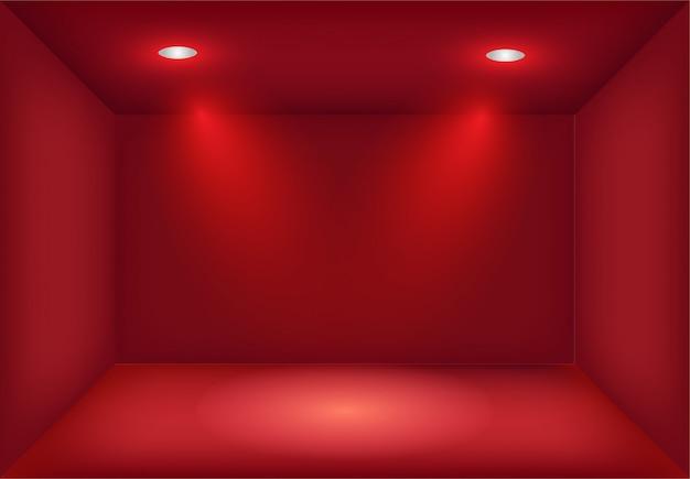 Caixa de luz vermelha realista com holofotes cruzados ou projetor. iluminação da sala de exposições. lightbox fundo para show, exposição. modelo em branco e vazio interior do estúdio.
