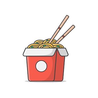Caixa de macarrão com ovos cozidos e ilustração do ícone de pauzinhos. comida de macarrão oriental. ícone de macarrão asiático
