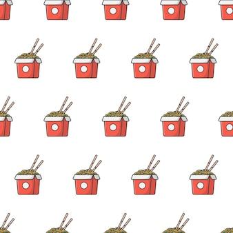 Caixa de macarrão padrão sem emenda. ilustração de tema de comida de macarrão oriental