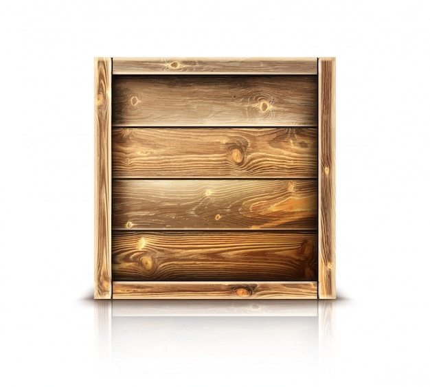 Caixa de madeira, caixa de madeira fechada realista para carga