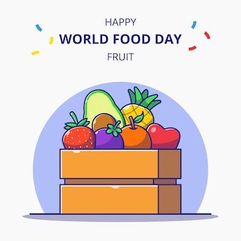 Caixa de madeira cheia de comemorações do dia mundial da comida de ilustração dos desenhos animados de frutas frescas.