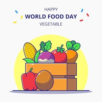 Caixa de madeira cheia de comemorações do dia mundial da comida de ilustração dos desenhos animados de legumes frescos.