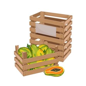 Caixa de madeira cheia de mamão