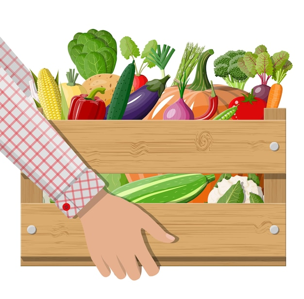 Caixa de madeira cheia de vegetais na mão.