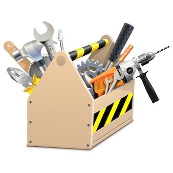 Caixa de madeira com ferramentas isoladas em branco