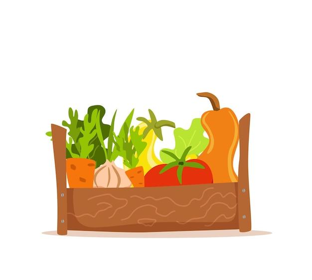 Caixa de madeira com ilustração em vetor desenhos animados coloridos de vegetais. conceito de mercado de nutrição vegetariana: cebola, abóbora, tomate, salada de cenoura e outros produtos. pacote de entrega de colheita de alimentos orgânicos saudáveis