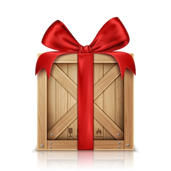 Caixa de madeira com laço de fita de seda vermelha