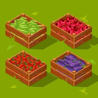 Caixa de madeira com legumes