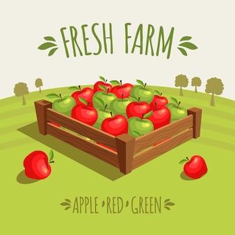 Caixa de madeira completamente de maçãs vermelhas e verdes.