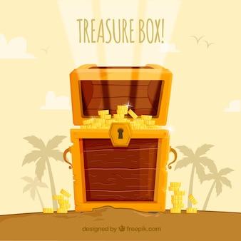 Caixa de madeira do tesouro com design plano