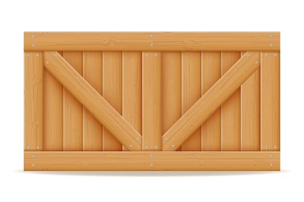 Caixa de madeira para entrega e transporte de mercadorias em madeira. ilustração dos desenhos animados isolada no fundo branco