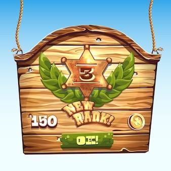 Caixa de madeira para um novo nível de interface do usuário em um jogo de computador