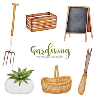 Caixa de madeira, quadro-negro, cesto, garfo de palha, vaso e pá, conjunto de objetos de jardinagem em aquarela sobre o tema jardim.