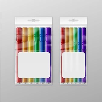 Caixa de marcadores coloridos de canetas com ponta de feltro isolados