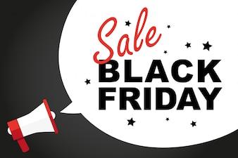 Caixa de megafone e bolha com publicidade de venda de sexta-feira negra