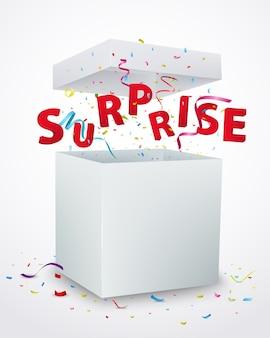 Caixa de mensagem surpresa com confete