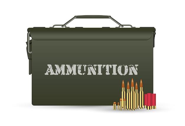 Caixa de munição militar verde com algumas balas