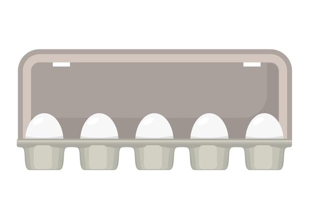 Caixa de ovos com ovos brancos de galinha fresca.